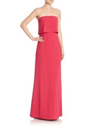 Halston Strapless Tiered Top Gown Cerise