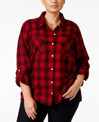 Styleandco. Style Co. Plus Size Mixed Print Plaid Shirt Only At Macy's In Bloom