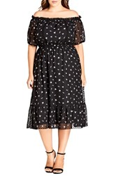 City Chic Plus Size Ikebana Off The Shoulder Dress Dobby Floral