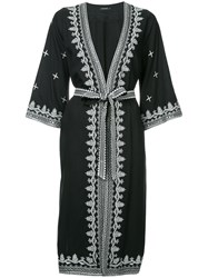 Loveless Embroidered Belted Coat Black