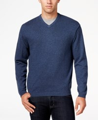 Weatherproof Vintage Men's Big And Tall V Neck Sweater Only At Macy's Marine Blue