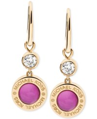 Michael Kors Colored Imitation Mother Of Pearl Drop Earrings Pink Gold