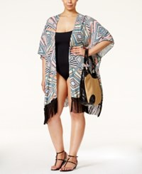 Jessica Simpson Plus Size Venice Beach Tribal Print Kimono Cover Up Women's Swimsuit Multi