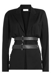 Thierry Mugler Virgin Wool Blazer With Leather Belt Black