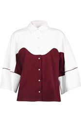 Stella Jean Two Tone Cotton Blend Shirt Burgundy