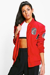 Boohoo Padded Varsity Badged Bomber Jacket Red