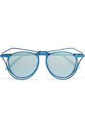 Karen Walker Marguerite Aviator Style Metal Mirrored Sunglasses Blue