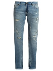 Dolce And Gabbana Distressed Slim Leg Jeans Denim