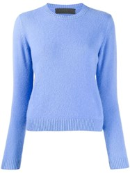 The Elder Statesman Round Neck Jumper Blue