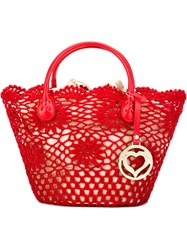 Twin Set Small Crochet Tote Red