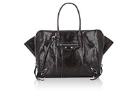 Balenciaga Women's Papier B4 Python Side Zip Tote Bag Dark Brown