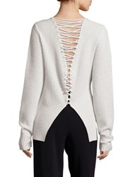 A.L.C. Markell Wool And Cashmere Lace Back Sweater Midnight White
