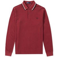 Fred Perry Long Sleeve Twin Tipped Polo Burgundy
