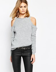 Daisy Street Cold Shoulder Lightweight Knit Jumper Silver