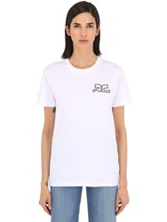 Courreges Logo Print Cotton Jersey T Shirt White