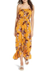 One Clothing Floral Tulip Maxi Dress Mustard Multi