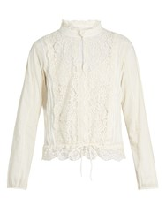 See By Chloe High Neck Lace Insert Blouse Cream