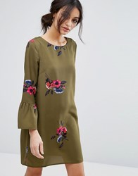 Vero Moda Floral Print Peplum Sleeve Shift Dress Green
