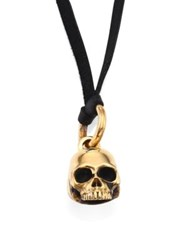 King Baby Studio Brass Alloy Small Hamlet Skull Pendant On Leather Cord Black Gold