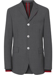 Burberry Stripe Detail Stretch Wool Neoprene Tailored Jacket Grey