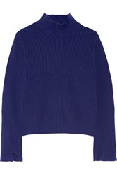 Proenza Schouler Ribbed Wool And Cashmere Blend Turtleneck Sweater Storm Blue
