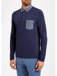 Lyle And Scott Mouline Collar Long Sleeve Polo Shirt Navy