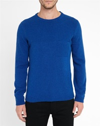 M.Studio Royal Blue Corentin Fancy Knit Chest Pocket Sweater