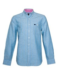 Raging Bull Stripe Long Sleeve Button Down Shirt Navy