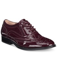Wanted Babe Lace Up Oxfords Women's Shoes Burgundy Patent