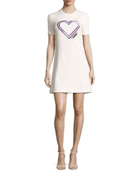 Carven Short Sleeve Structured Jersey Mini Dress Pink