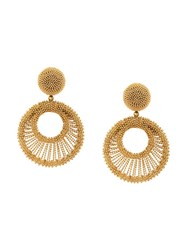 Oscar De La Renta Beaded Hoop Earrings Gold