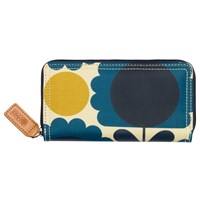 Orla Kiely Scallop Flowers Zip Around Purse Blue Multi