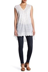 Johnny Was Semi Sheer Eyelet Tunic White