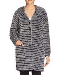 Pj Salvage Striped Cozy Cardigan Robe Charcoal