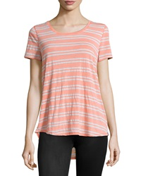 Marc Ny Performance Striped High Low Tee Papaya White Heather