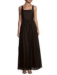 Js Collection Square Neck Mesh Gown Black
