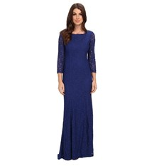 Adrianna Papell 3 4 Sleeve Lace Gown W Godet Skirt Prussian Women's Dress Blue