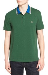 Lacoste Men's Semi Fancy Stripe Collar Pique Polo Green