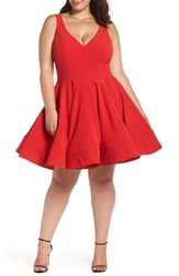 Mac Duggal Plus Size Fit And Flare Party Dress Red
