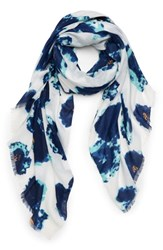 Sole Society Watercolor Floral Scarf Blue Multi