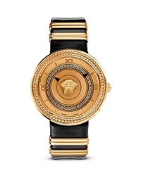 Versace V Metal Icon Ion Plated Rose Gold Watch With Black Leather Band 40Mm Black Rose