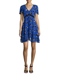 Rebecca Taylor Short Sleeve Floral Silk A Line Dress Electric Blue