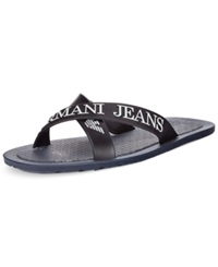 Armani Jeans Logo Slide Sandals Men's Shoes Navy
