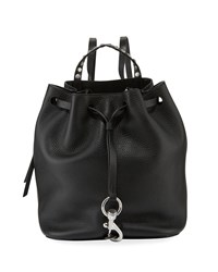 Rebecca Minkoff Blythe Leather Drawstring Backpack Bag Black