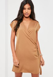 Missguided Nude D Ring Wrap Front Mini Dress Camel