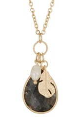 Spring Street Freshwater Pearl Quartz Teardrop And Feather Pendant Cluster Necklace Gray