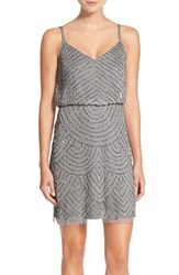 Women's Adrianna Papell Sequin Mesh Blouson Dress Silver Grey