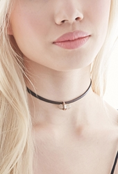 Forever 21 Faux Leather Charm Choker Brown Black