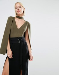 Lavish Alice Keyhole Neck Plunge Cape Body Khaki Green