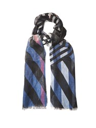 Burberry Stripe And Check Print Linen Scarf Navy Multi